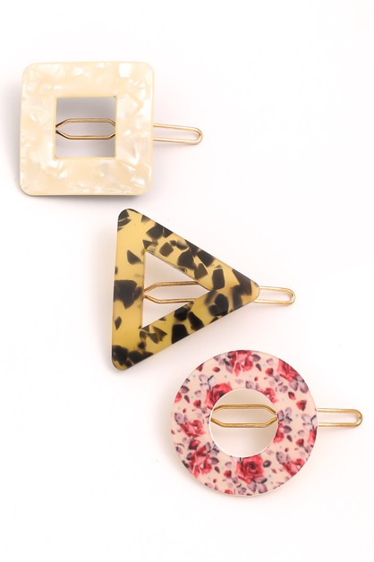 Geo Shape Acetate Hair Clip Set - orangeshine.com