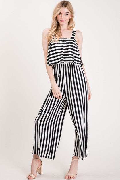 STRIPE WITH FRONT RUFFLE ROMPER - orangeshine.com