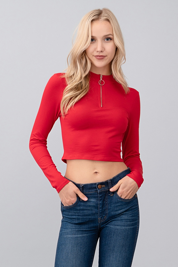 FRONT ZIP UP LONG SLEEVE CROP TOP - orangeshine.com
