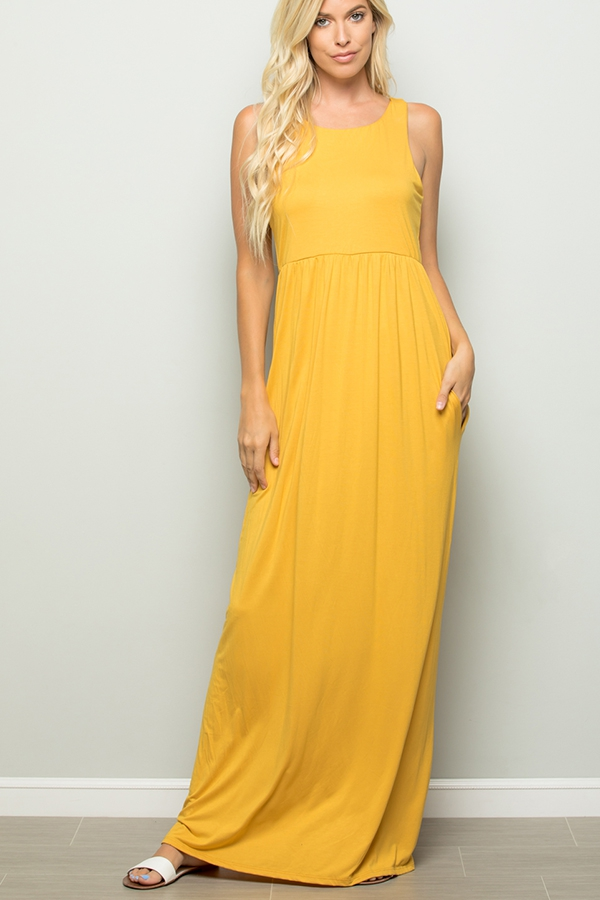 SOLID MAXI DRESS WITH SIDE POCKET - orangeshine.com