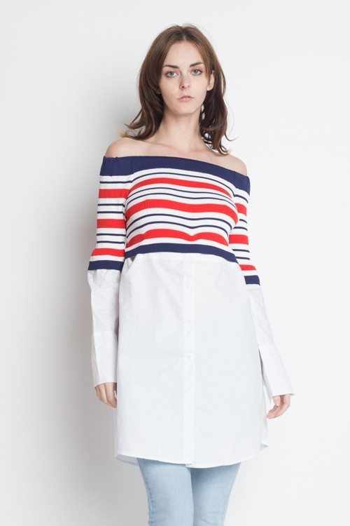 Off Shoulder Long Sleeve Stripe Tuni - orangeshine.com