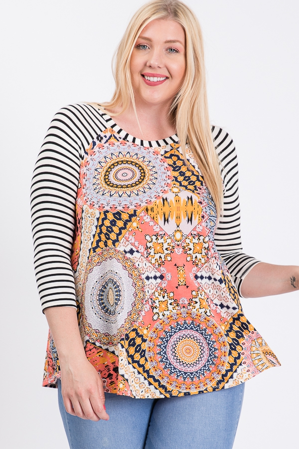 Plus Size Geo Print Tunic Top - orangeshine.com