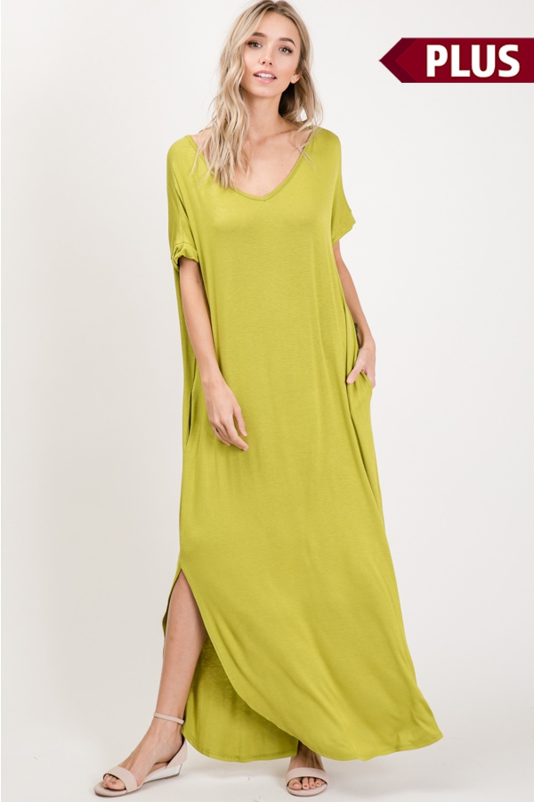 Plus Short Sleeve Side Slit Maxi - orangeshine.com