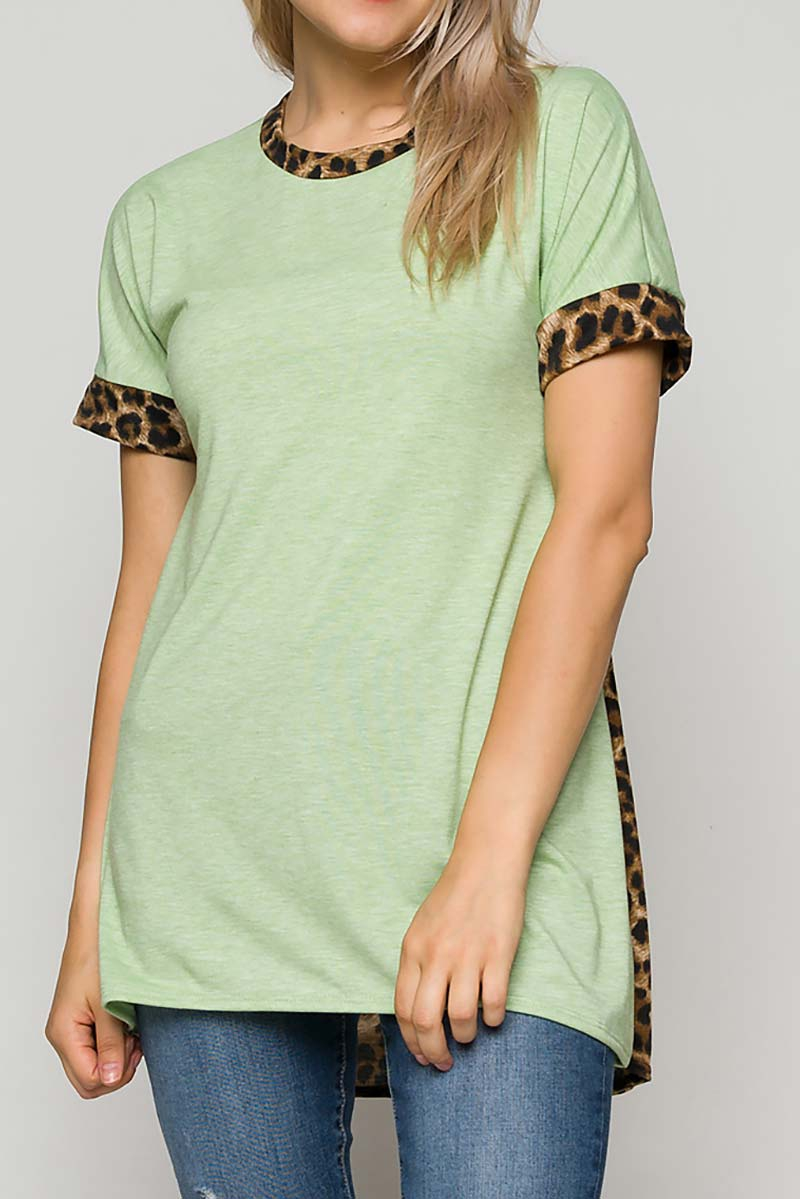 HI LO COLOR BLOCK ANIMAL PRINT TOP  - orangeshine.com