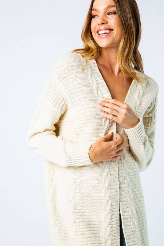 CABLE KNIT LONG OPEN CARDIGAN - orangeshine.com