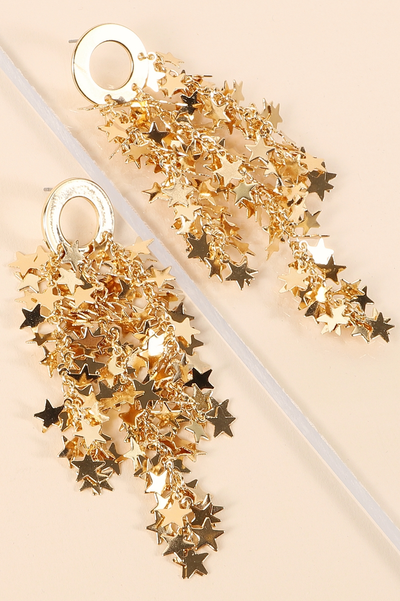 Dangling stars Round Metal Earrings - orangeshine.com