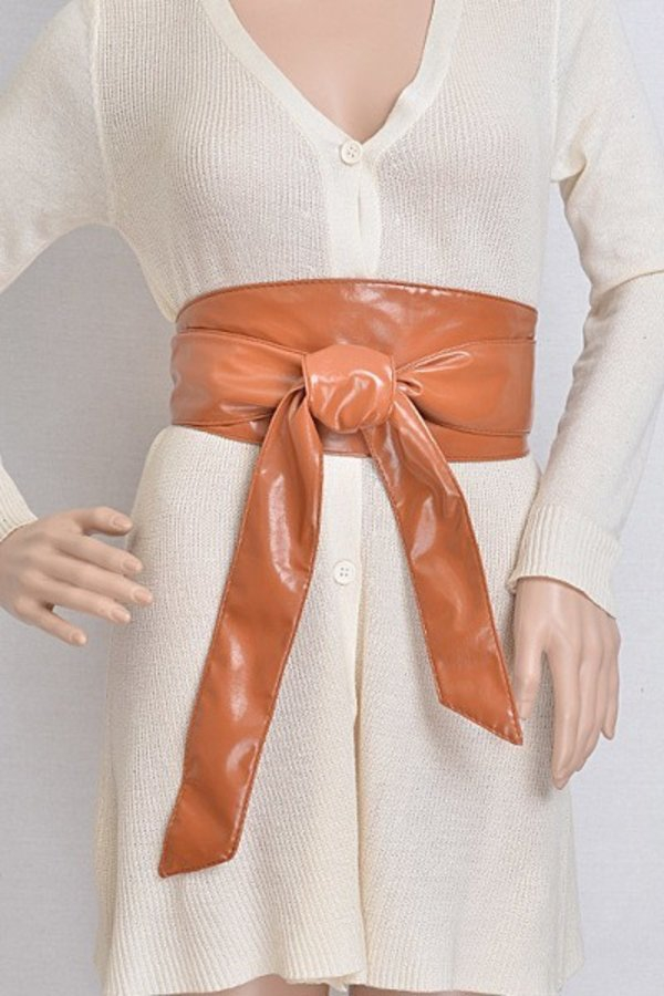 Faux Leather Tie up Belt - orangeshine.com