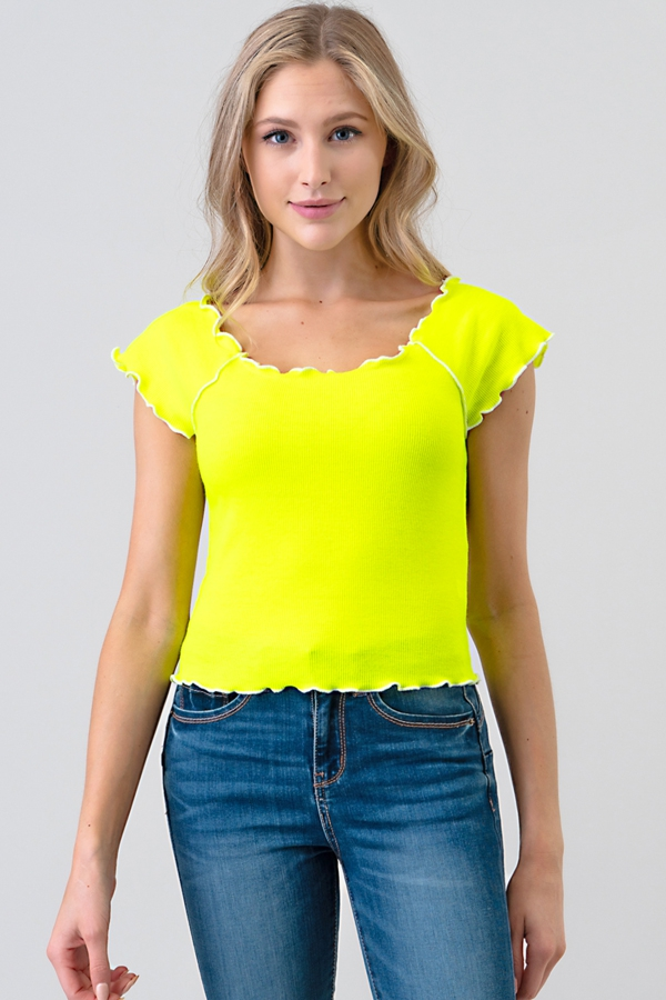 CONTRAST LETTUCE MERROW SHORT TOP - orangeshine.com