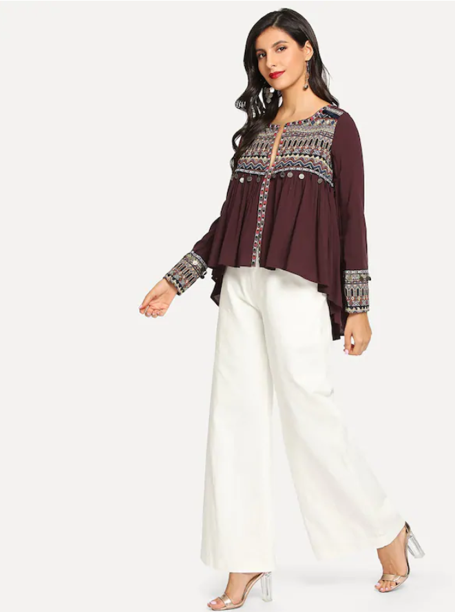 Embroidered Coin Tassel Blouse - orangeshine.com
