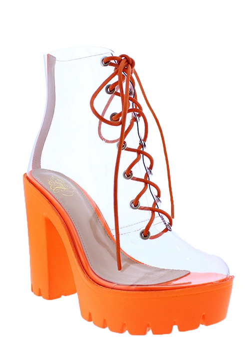 NEON CLEAR PLATFORM HIGH HEEL ANKLE  - orangeshine.com