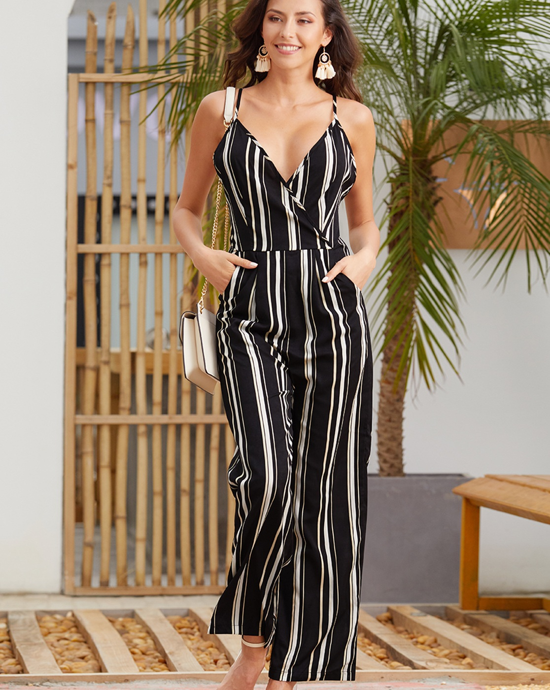 Deep V Neck Backless Jumpsuit - orangeshine.com