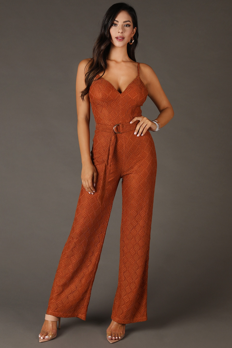 Textured Laced Belted Jumpsuit - orangeshine.com