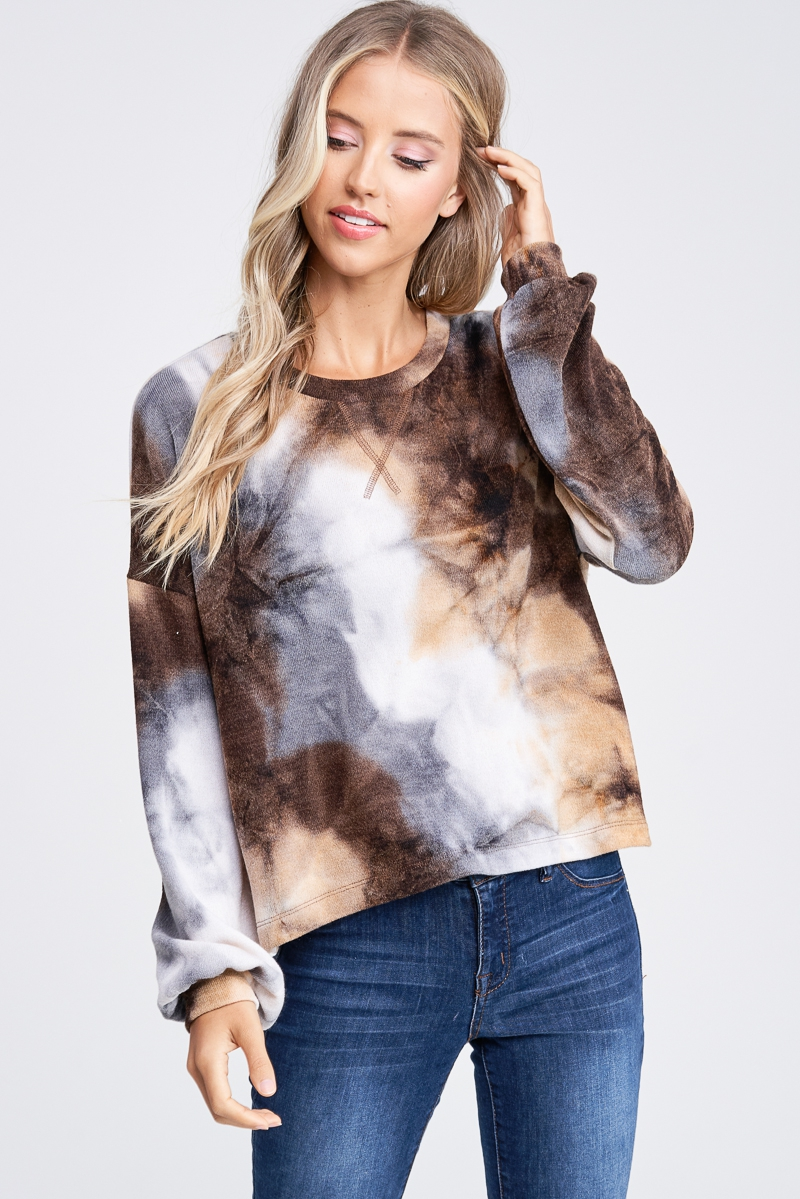 Long Sleeve Tie Dye Knit Sweater - orangeshine.com
