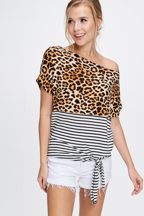 Off The Shoulder Cheetah Print Top - orangeshine.com
