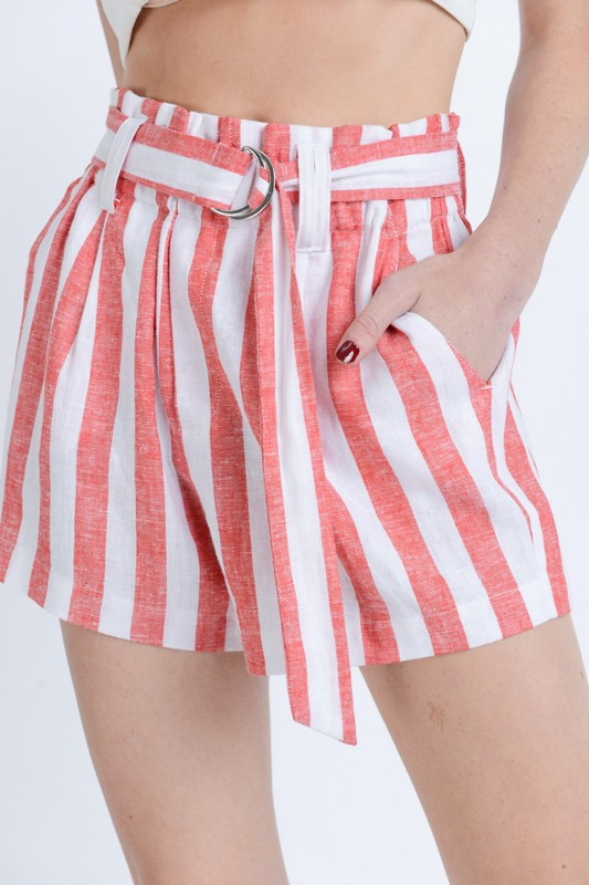 Straight high waist paper bag belted - orangeshine.com