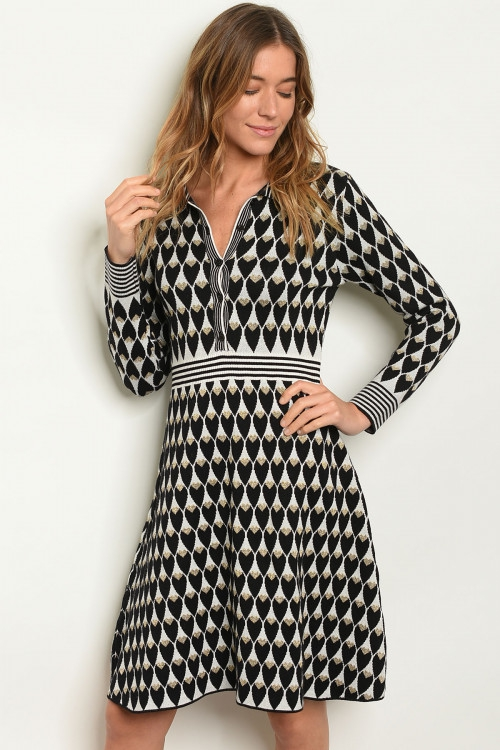 Long sleeve V-neck sweater dress - orangeshine.com