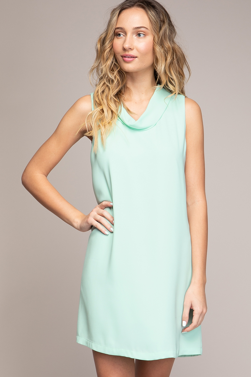 MINI ROLLOVER NECK SHIFT DRESS - orangeshine.com