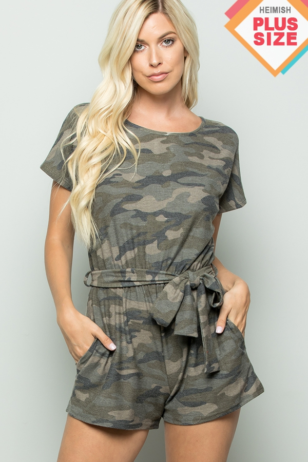 PLUS CAMO ROMPER WITH WAIST BELT AND - orangeshine.com