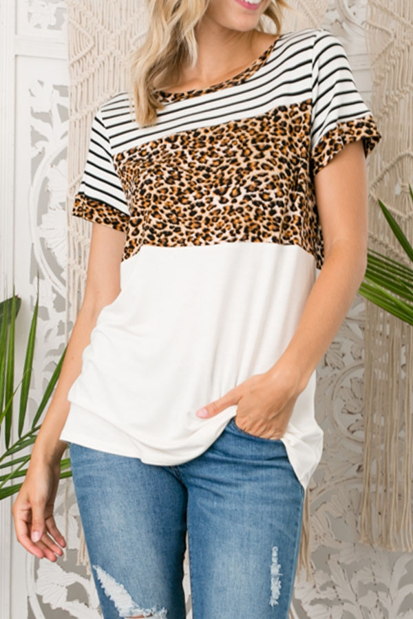 ANIMAL PRINT MIXED BOXY TOP - orangeshine.com