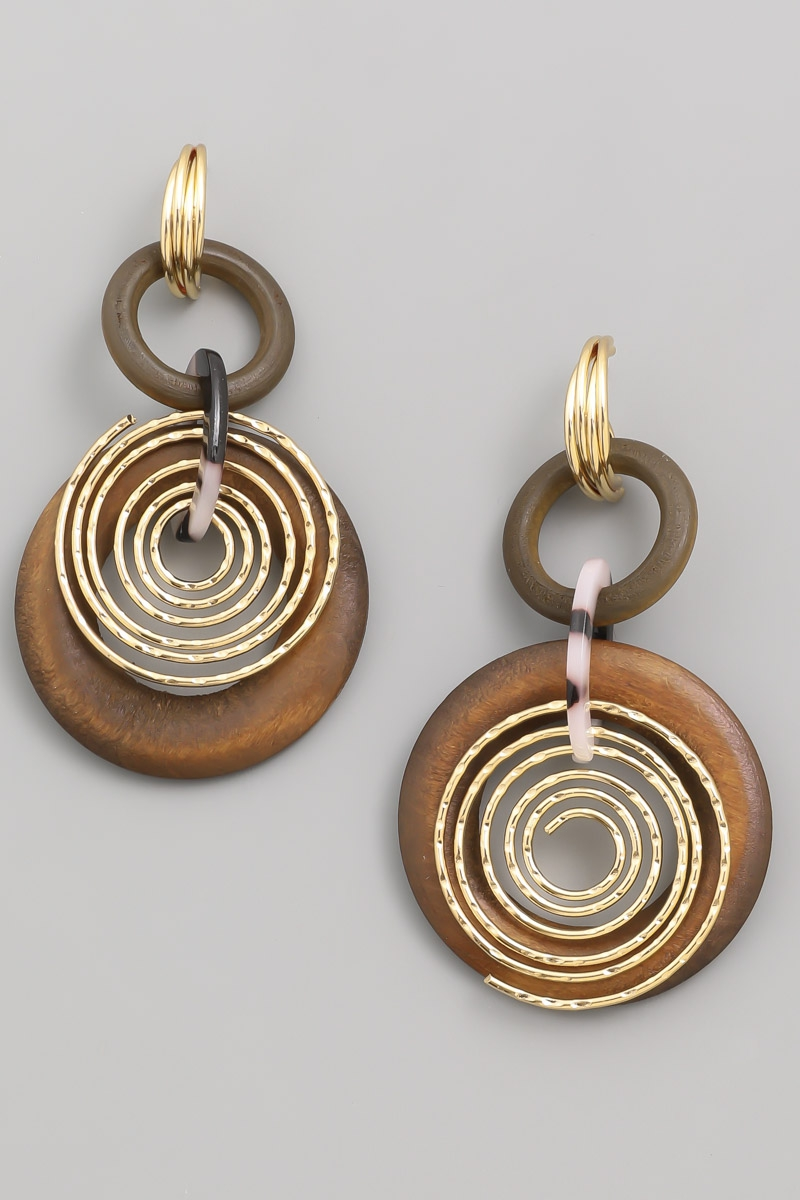 Layered Circle Hoop Drop Earrings - orangeshine.com