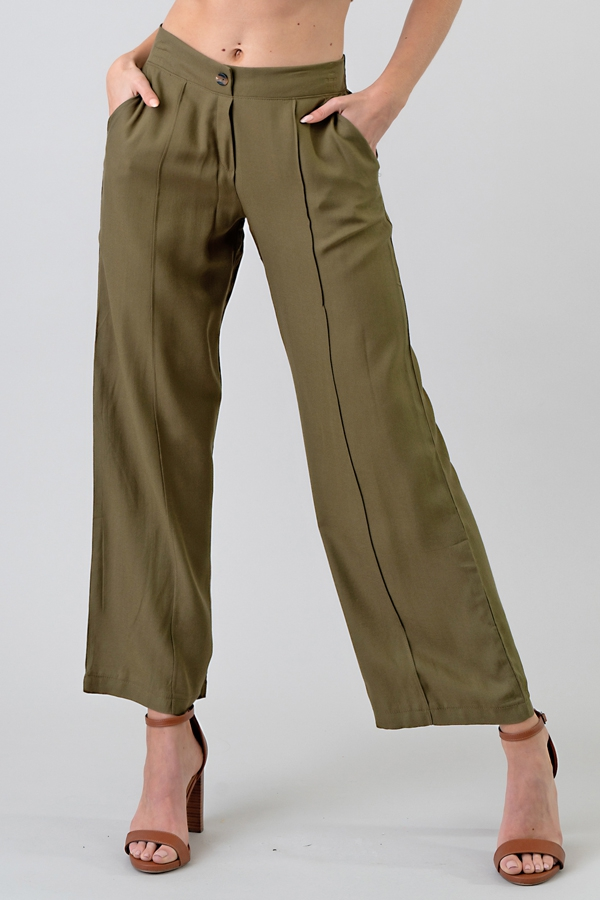 FRONT PINTUCK 2 ELASTIC BAND PANTS - orangeshine.com