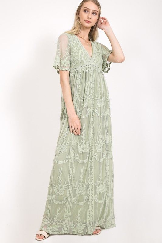 Lace Maxi Dress - orangeshine.com