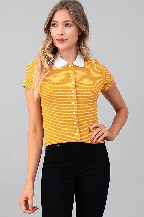 BUTTON DOWN STRIPE COLLAR TOP - orangeshine.com