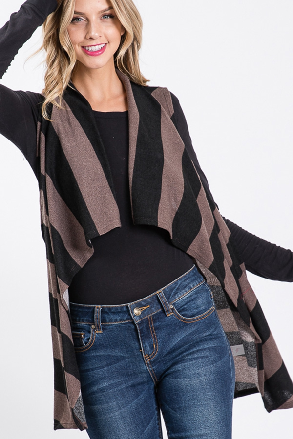 COLOR BLOCK STRIPE DRAPED VEST - orangeshine.com