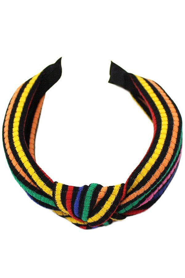 Ribbed striped headband with knot - orangeshine.com