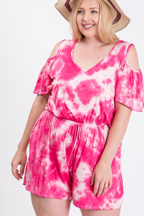 Plus Sized Tie Dye Romper - orangeshine.com