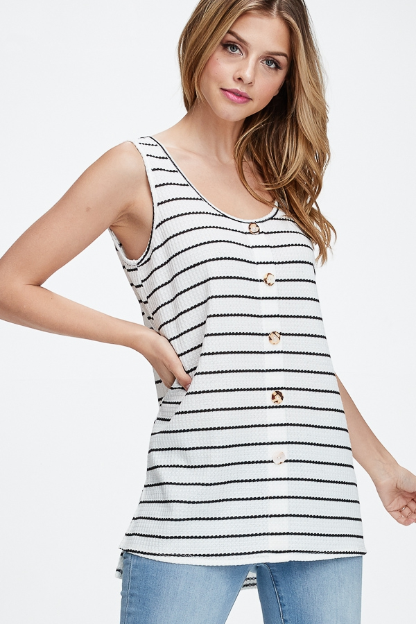 Sleeveless Striped Button Detail Top - orangeshine.com