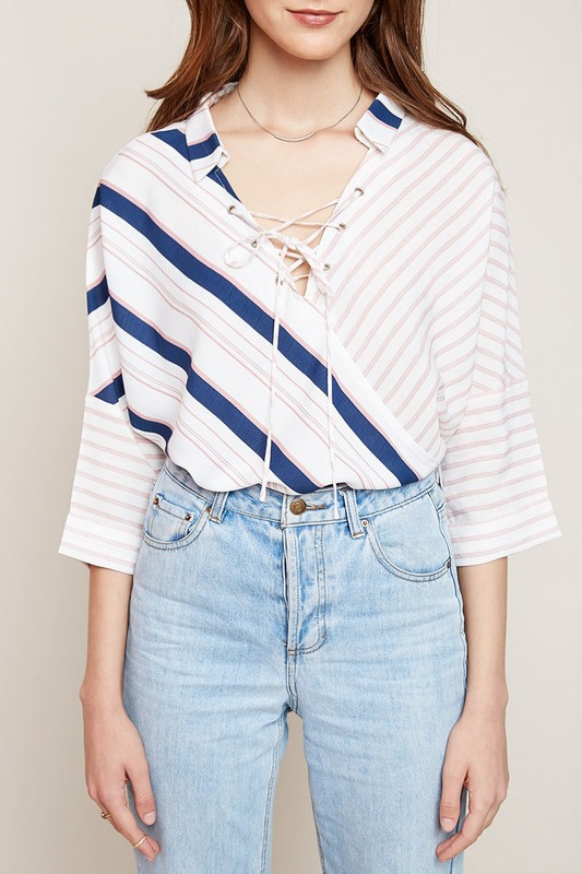Multi Striped Collared Top - orangeshine.com