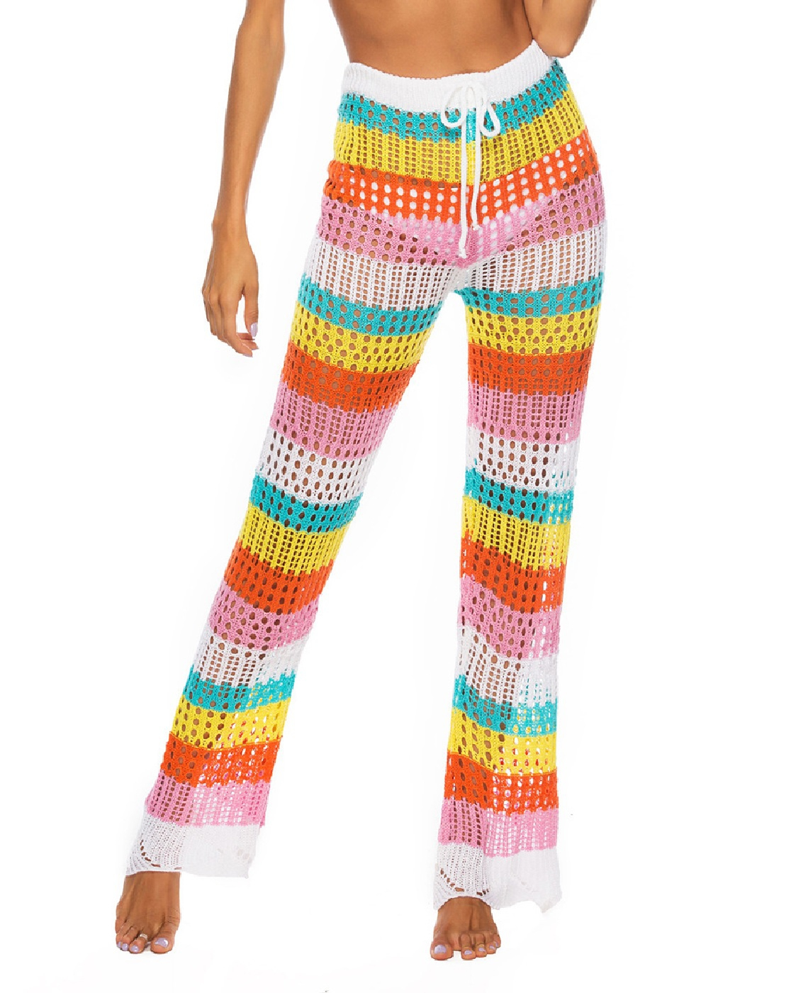 rainbow Hollow knitting Beach pants - orangeshine.com