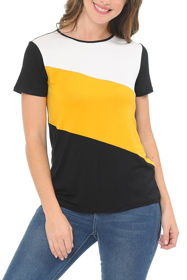 Color block short sleeve top - orangeshine.com