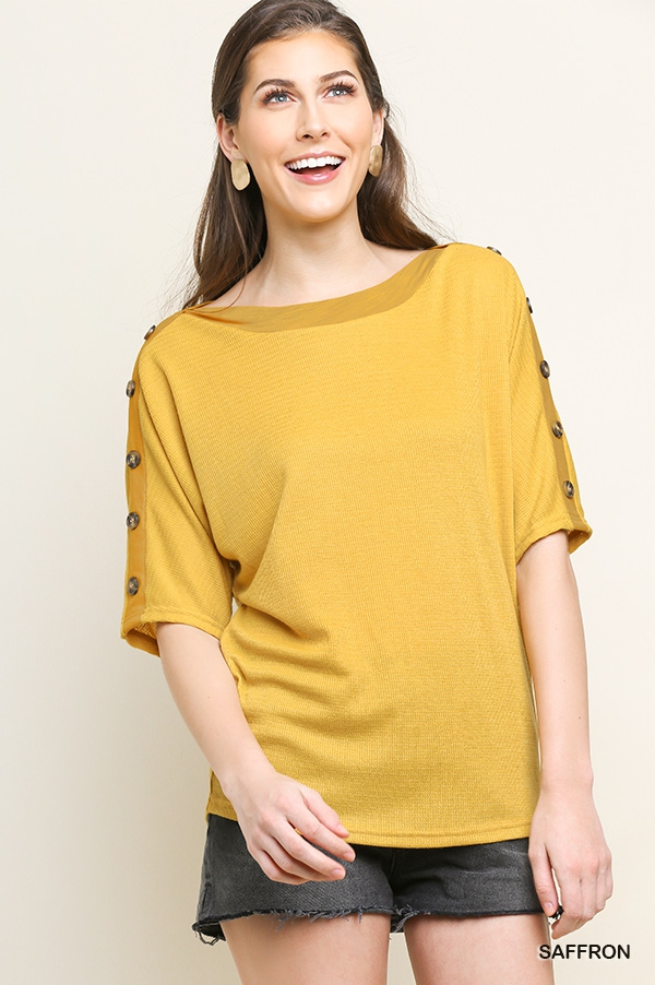Faux Button Sleeve Knit Top - orangeshine.com