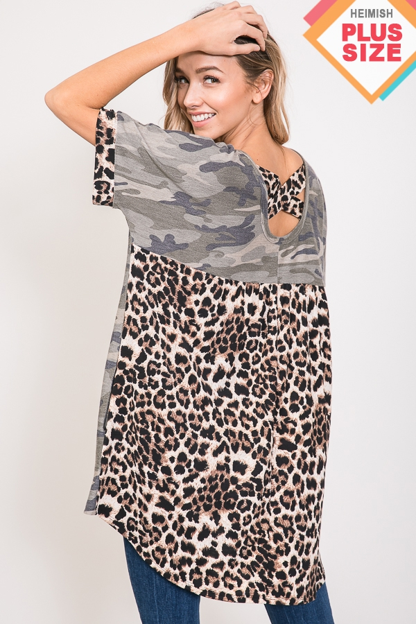 CAMO AND ANIMAL TOP WITH CRISSCROSS  - orangeshine.com