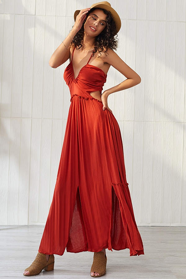 V Neck Sleeveless Pleated Dress - orangeshine.com