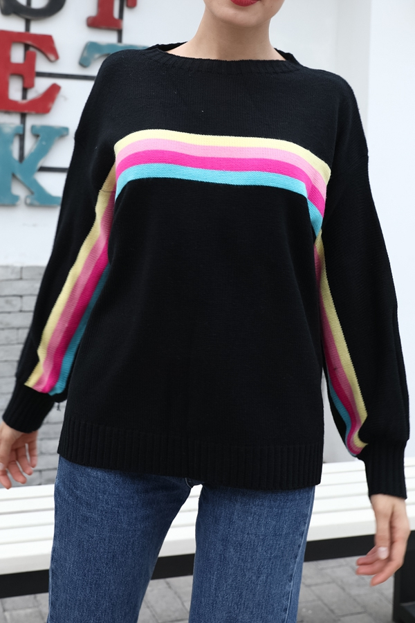 ORANGE STRIPED ROUND NECK sweater - orangeshine.com