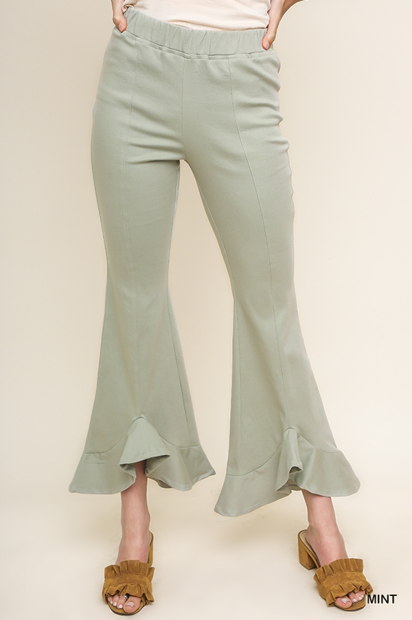 High Waist Flare Ruffle Pants - orangeshine.com