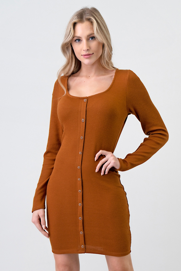 LONG SLEEVE FRONT BUTTON DRESS - orangeshine.com