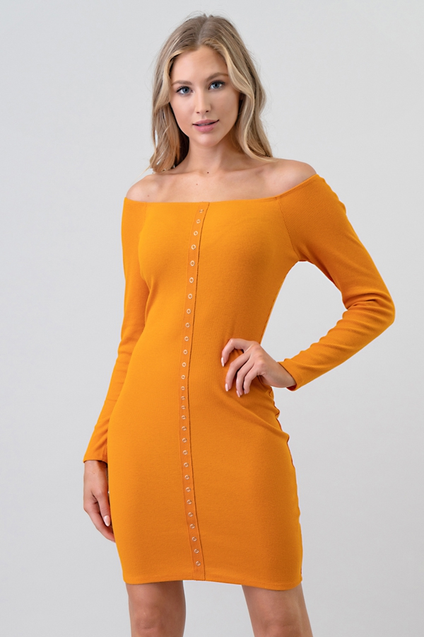 OFF SHOULDER SNAP BUTTON DRESS - orangeshine.com