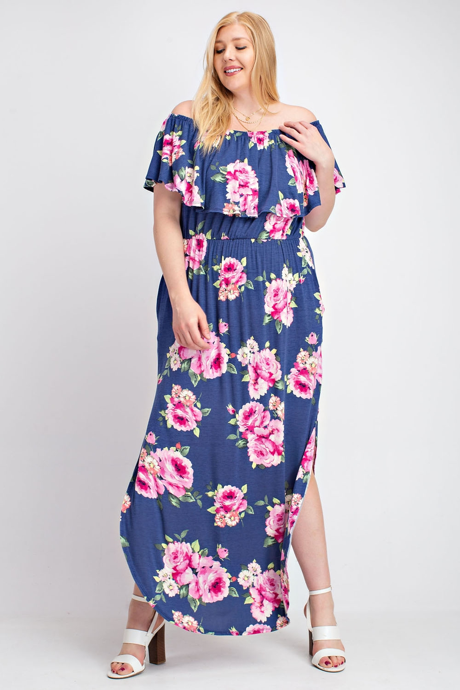 OFF SHOULDER FLORAL PLUS SIZE MAXI D - orangeshine.com