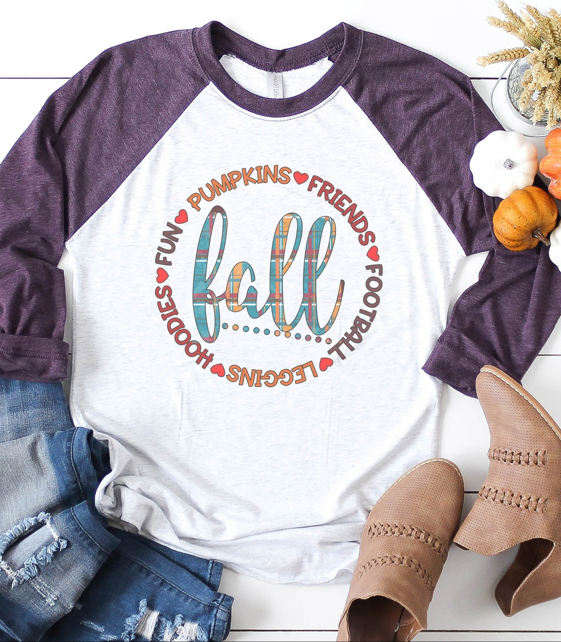 Fall Circle Raglan Baseball Tee - orangeshine.com
