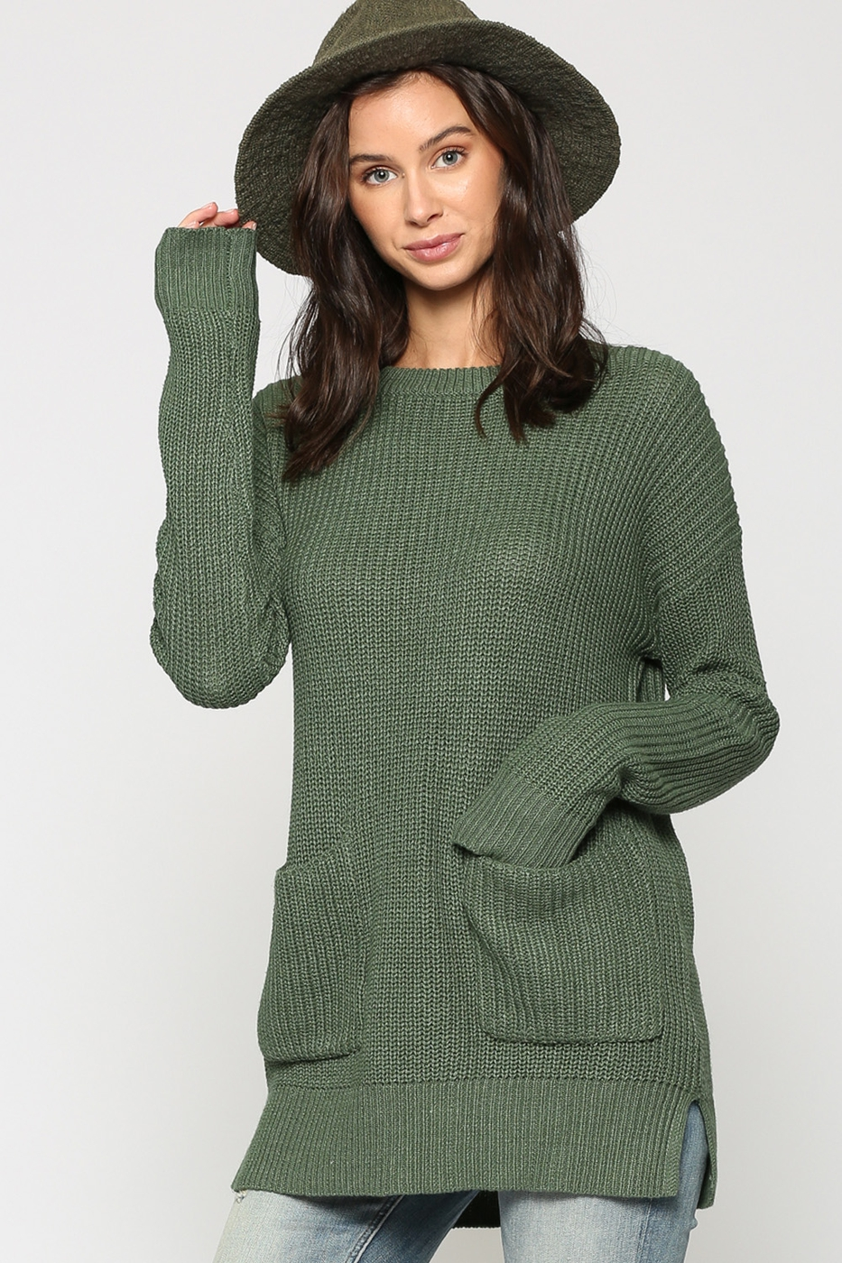 SWEATER WITH TWO FRONT POCKETS - orangeshine.com