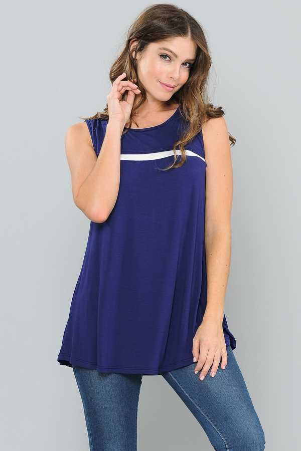 STRIPE CONTRAST TANK TUNIC TOP - orangeshine.com