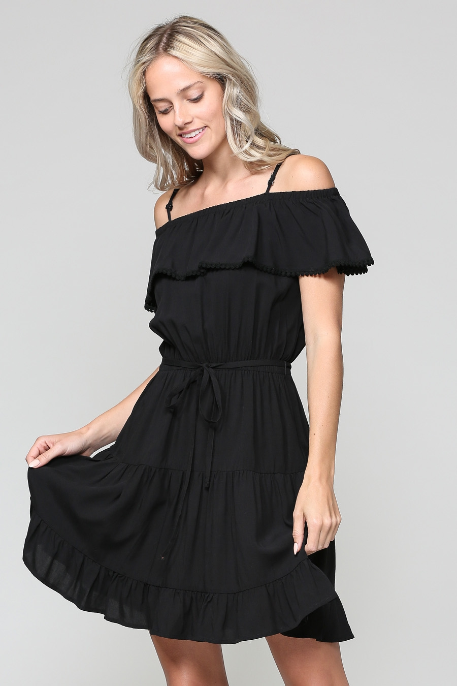 RUFFLE MIDI DRESS WITH WAIST TIE - orangeshine.com