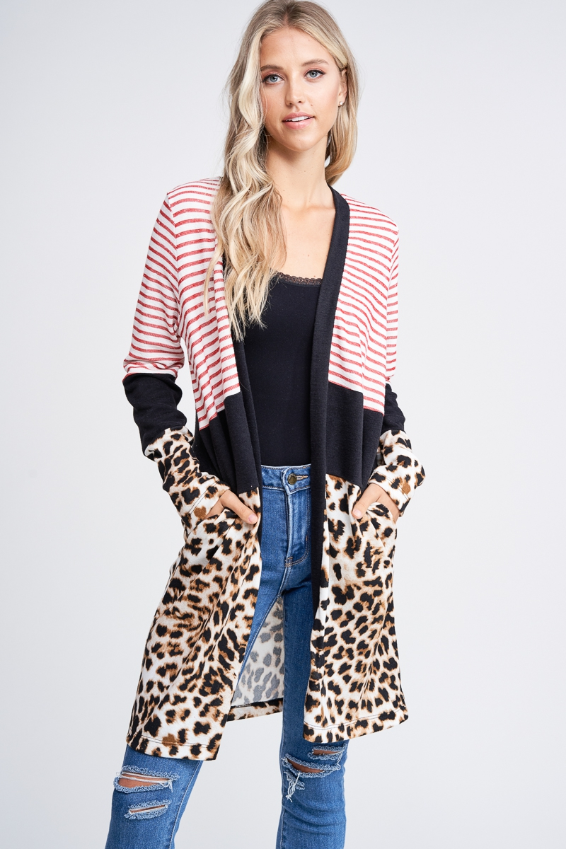 Multi Print Open Front Long Cardigan - orangeshine.com