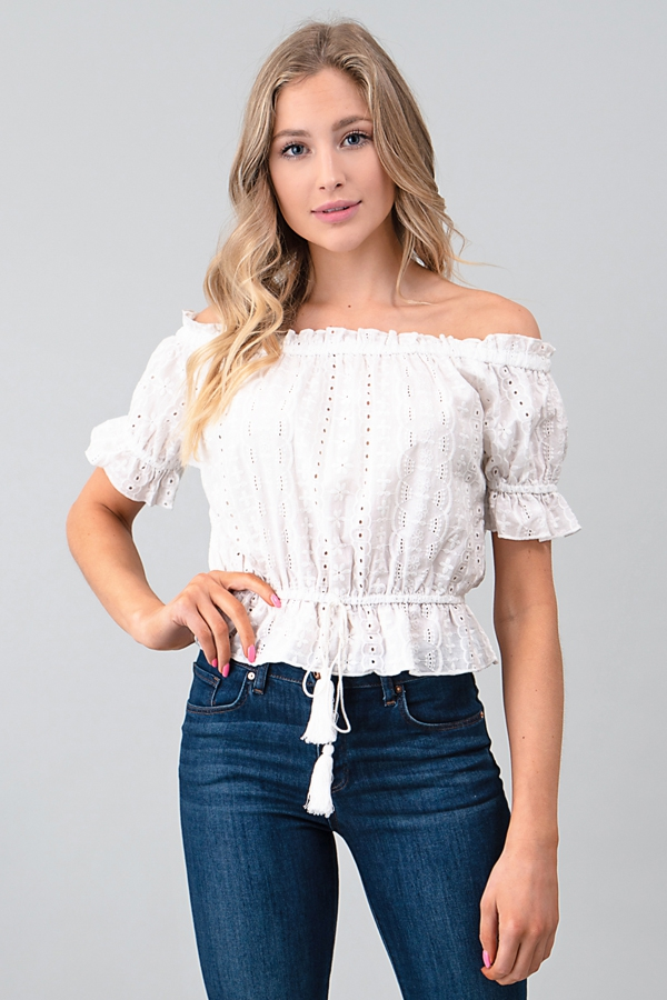 OFF SHOULDER RUFFLE EYELET LACE TOP - orangeshine.com