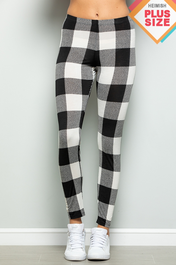 PLUS SIZE PLAID PRINT LONG LEGGINGS - orangeshine.com