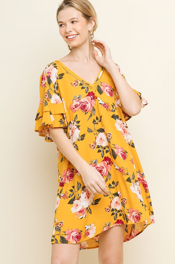 Floral Print Ruffle Sleeve Dress - orangeshine.com
